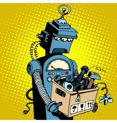Sad retro robot leaves work vector