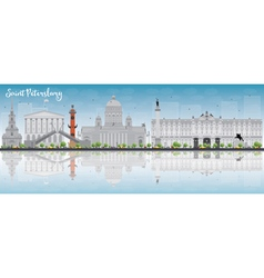 Saint Petersburg skyline with grey landmarks vector