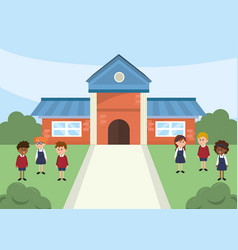 School with trees and happy children students vector