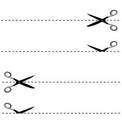 scissors cut lines duo vector image