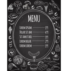 Seamless Food Menu on Chalkboard vector