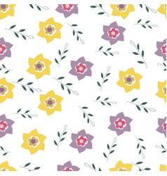 seamless pattern abstract branches and flowers vector image