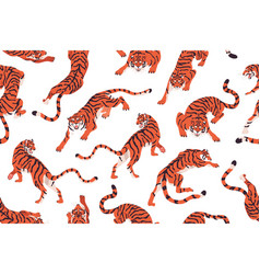 seamless pattern with angry tigers endless vector image