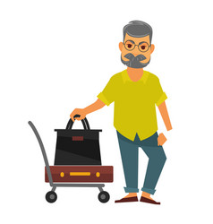 senior man standing near travelling bags on cart vector image