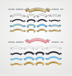 set hand drawn ribbons vector image