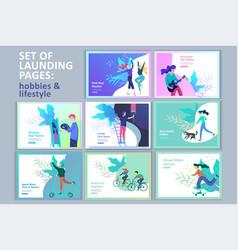 Set landing page templates for hobblog vector