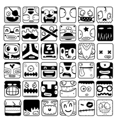 set of cartoon box face silhouettes vector image