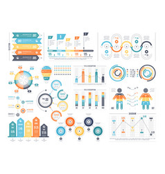 set of colorful infographic diagrams vector image