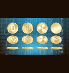 set of cryptocurrency coins vector image