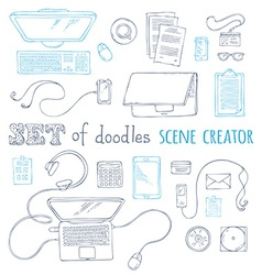 Set of doodles scene creator design elements vector image