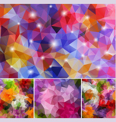 set polygonal backgrounds vector image
