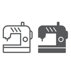 Sewing machine line and glyph icon electric and vector
