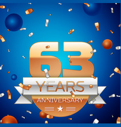 Sixty three years anniversary celebration design vector