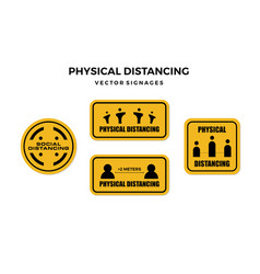 Social physical distancing sign vector