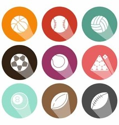 Solid icons shadow ball game vector