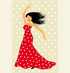 Spanish flamenco dancer the music is on vector