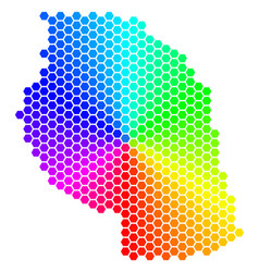 Spectrum hexagon tanzania map vector