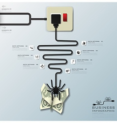 Spider Web With Money Butterfly Electric Wire Line vector