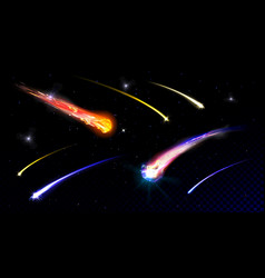 star shooting comets in starry sky or deep space vector image