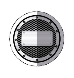sticker circular metallic frame with grill vector image