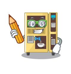 Student coffee vending machine with cartoon shape vector
