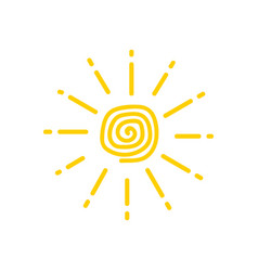 sun is drawn child funny doodle suns vector image