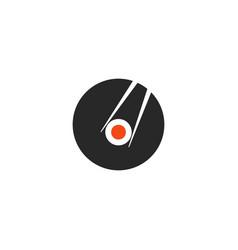 sushi icon in minimal style round logo japanese vector image