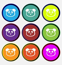 Teddy Bear icon sign Nine multi colored round vector