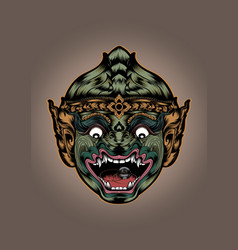 Thai thailand monkey hanuman mask actors mask head vector
