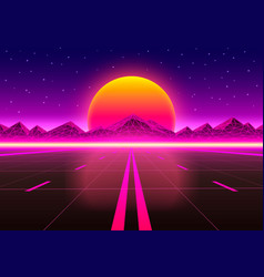 The road to infinity at sunset vector