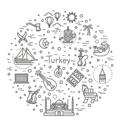 thin turkey symbol icon set vector image