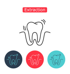 tooth extraction line icon vector image