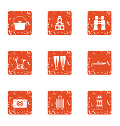 Tourist itinerary icons set grunge style vector