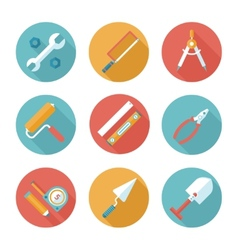 Trendy flat working tools icons vector image