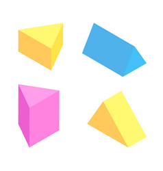 Triangular prisms collection colorful figures set vector