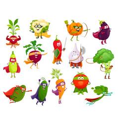 Vegetables super heroes cartoon veggies set vector