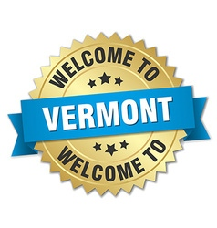 Vermont 3d gold badge with blue ribbon vector