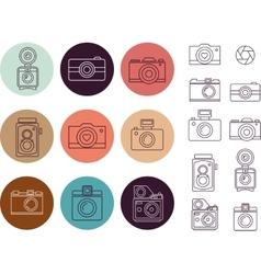 Vintage camera element icon set vector