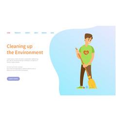 Volunteer scavenging man sweeping trash vector