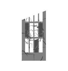 war broken building cracks and splinters of vector image