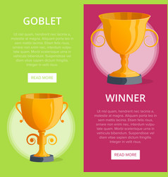 Win celebration banners with golden cups vector