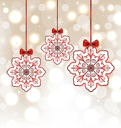 Winter decoration with snowflakes and bows vector image