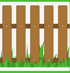 Wooden fence with grass type one vector