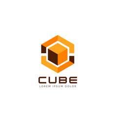 yellow cube logo sign symbol icon vector image