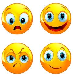 Yellow smiley ball vector image