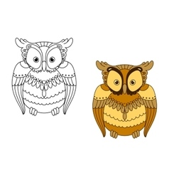 Owl with retro stylized brown feathers vector image