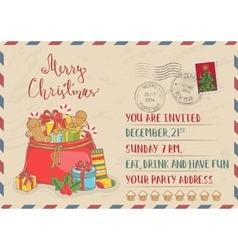 Vintage christmas invitation with postage stamps vector
