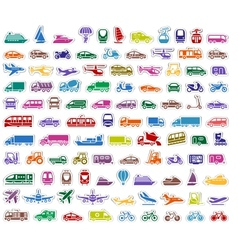104 Transport icons set stickers vector image vector image