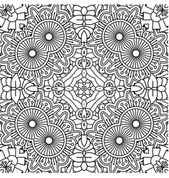 black and white outline floral pattern vector image vector image