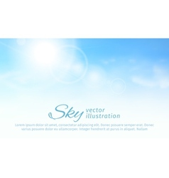 Bright summer sun and clouds horizontal sky vector image